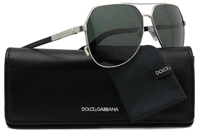 0f481515a938 Dolce   Gabbana DG2133 Aviator Sunglasses Matte Silver w Crystal ...