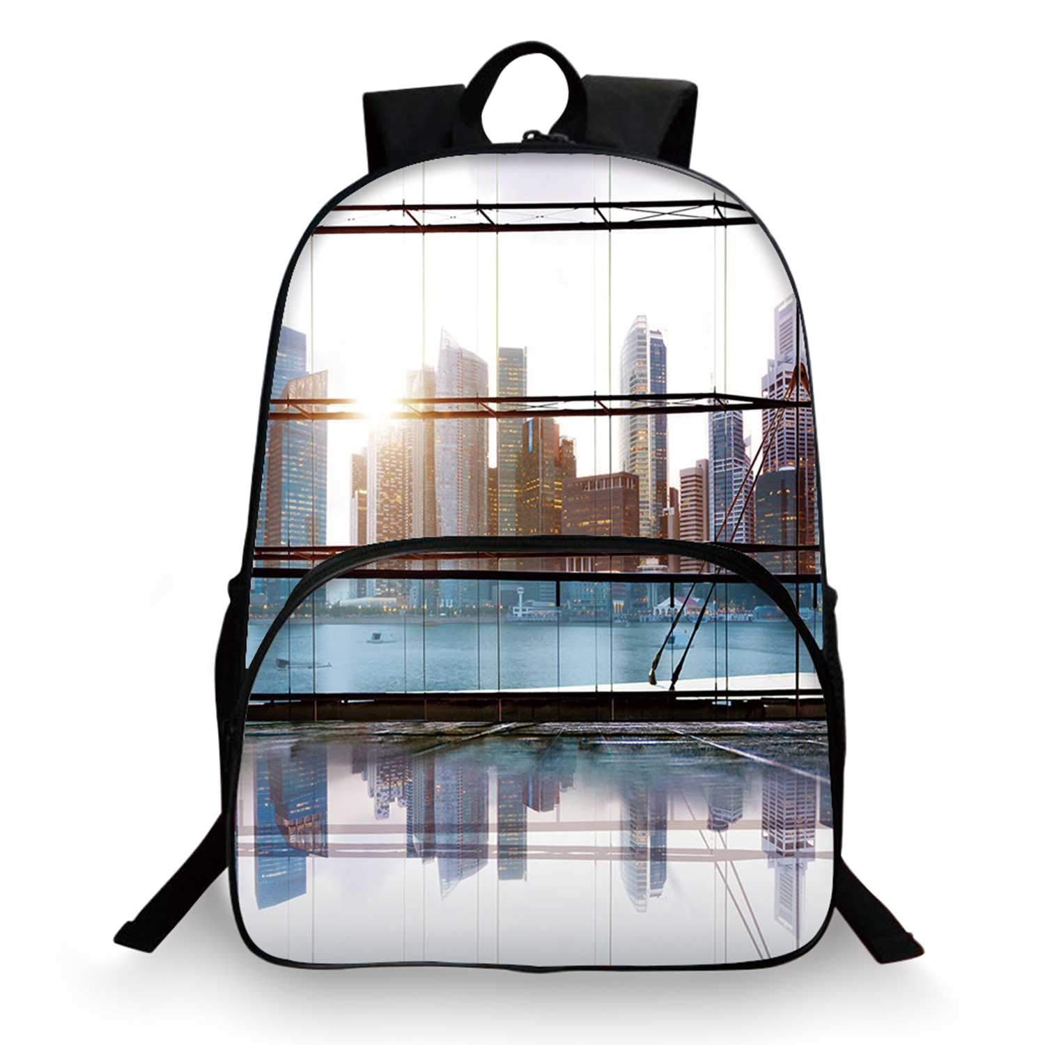 Modern Decor Various Schoolbag,Scenery of Modern Futuristic Metropolitan City with Skyscrapers for student,11''Lx6''Wx15''H by C COABALLA