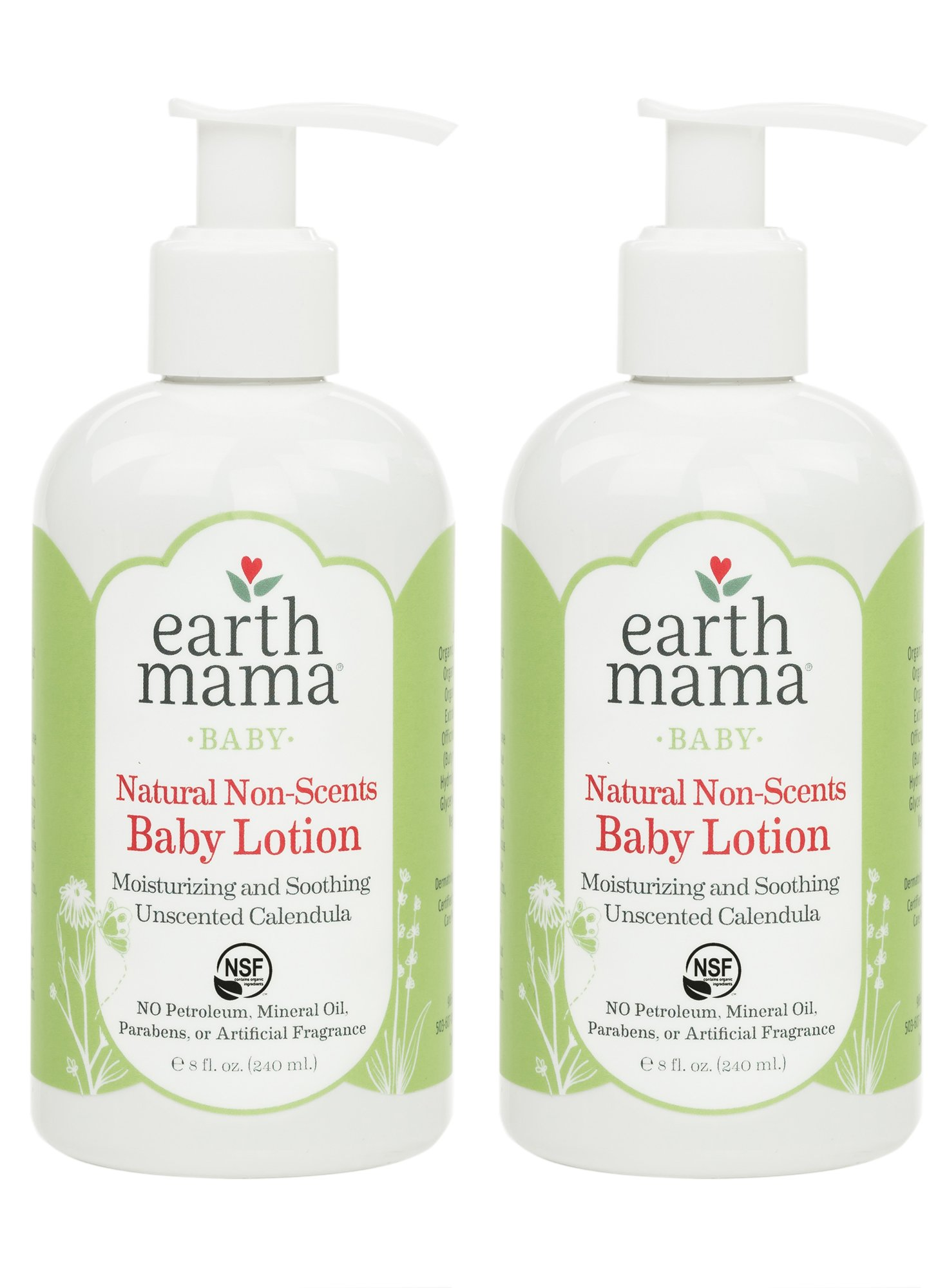 Earth Mama Natural Non-Scents Baby Lotion with Organic Calendula, 8-Fluid Ounce (2-Pack) by Earth Mama