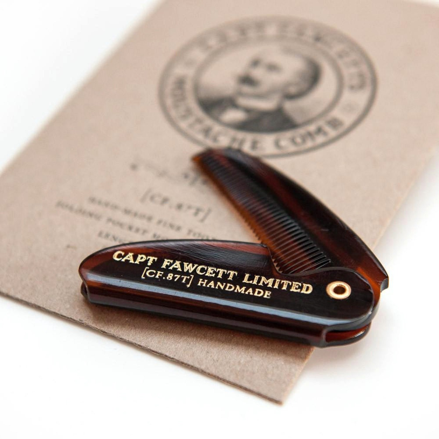 Captain Fawcett's Folding Pocket Moustache Comb - CF.87T - Made in England