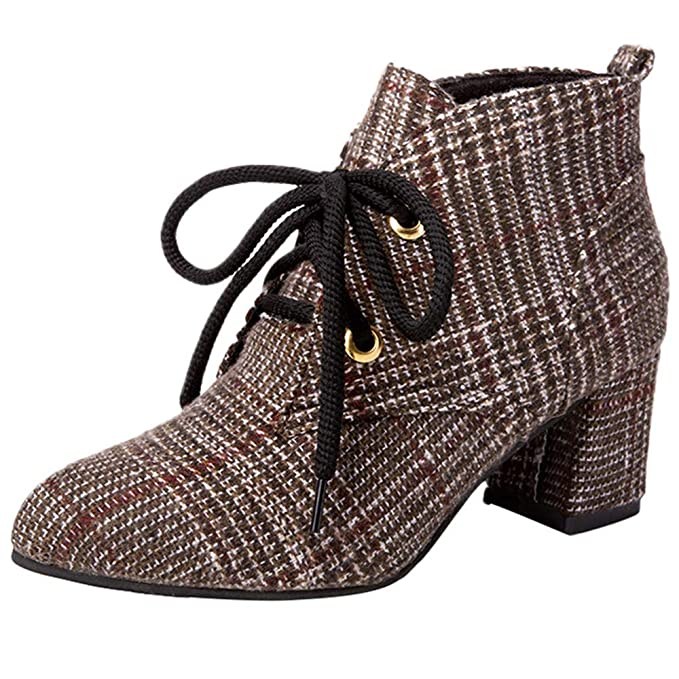 Women s Plaid Canvas Shoes - Pointed-Toe Non-Slip Low Top Cross-Tied Ankle  Boots - Chunky Thick Heel Martin Boots 6d95fb742b0f