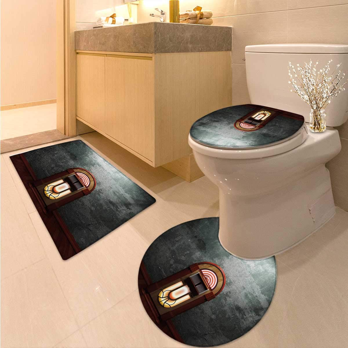 Anhuthree Jukebox Toilet Carpet Floor mat Set Scary Movie Theme Old Abandoned Home with Antique Old Music Box Image Non Slip Bath Shower Rug Petrol Green and Brown