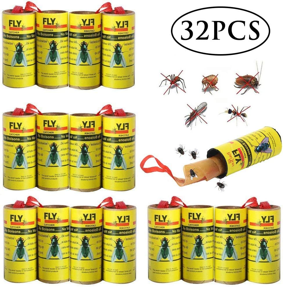 BESTZY 32PCS Fly Paper Strips Sticky Fruit Fly Catcher Trap Insect Glue Trap for House Indoor Outdoor Use