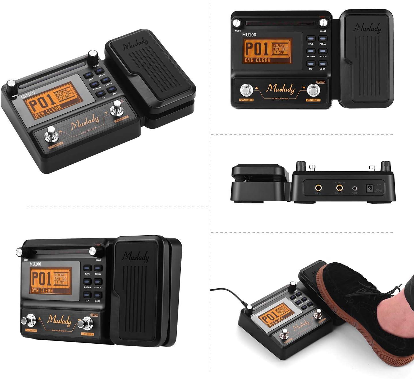 JJmooer MU100 Processeur multi-effets pour guitare P/édale deffet pour guitare /électrique Prend en charge laccord denregistrement en boucle /à 180 secondes Tap Tempo R/églage du rythme