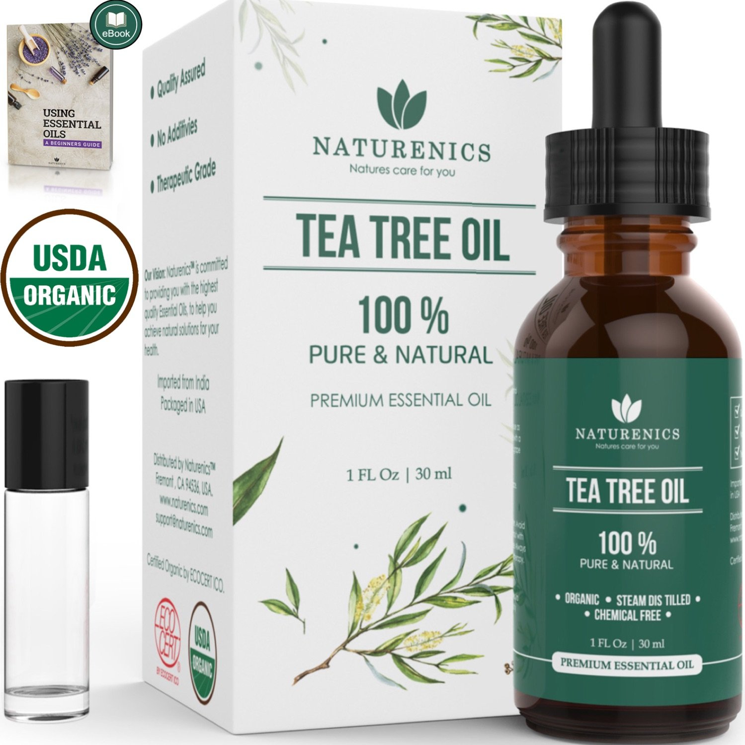 Naturenics Premium 100% Organic Tea Tree Essential Oil -Undiluted Pure USDA Certified Melaleuca Alternifolia Therapeutic Grade - For Toenail Fungus & Acne Treatment - Roll On & eBook by Naturenics