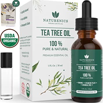 Naturenics Premium Organic Tea Tree Essential Oil - 100% Undiluted Pure  USDA Certified Melaleuca Alternifolia