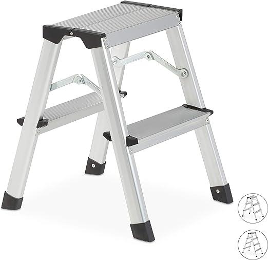 Relaxdays Escalera Plegable Aluminio, Escalerilla Tijera Pequeña ...