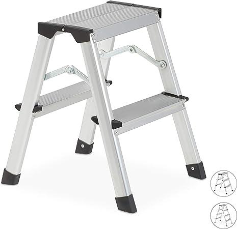 Relaxdays Escalera Plegable Aluminio, Escalerilla Tijera Pequeña, hasta 150 kg, 2 Peldaños, Plateado y Negro: Amazon.es: Hogar