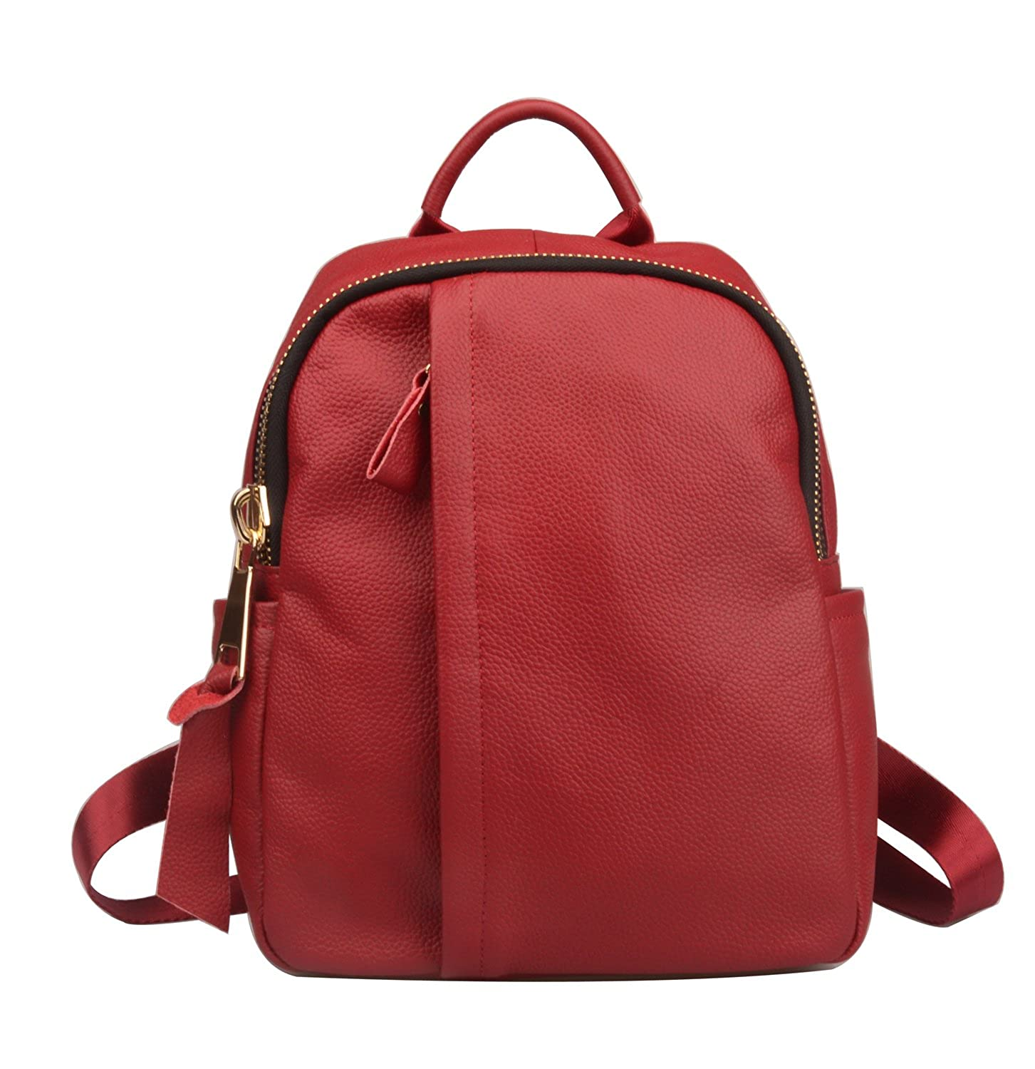 b0ffd7a96 Amazon.com: Fiswiss Women's Genuine Leather Backpack Purse With Big Zipper ( Red): Shoes