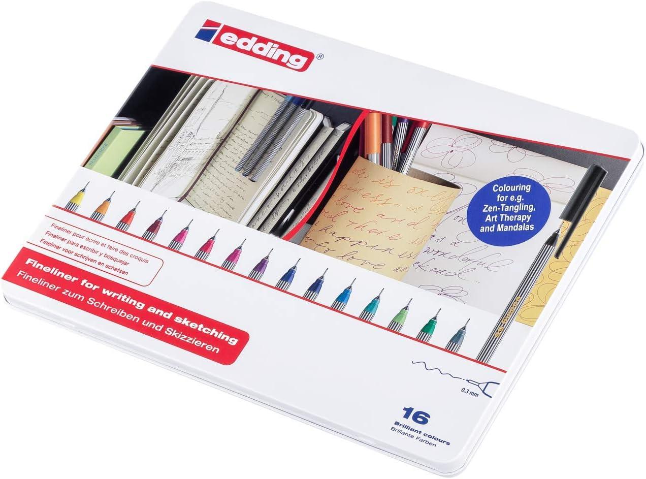 edding 55 Fineliner punta sintetica; Scatola in metallo 10 pz.; Colori assortiti; Tratto 0,3 mm