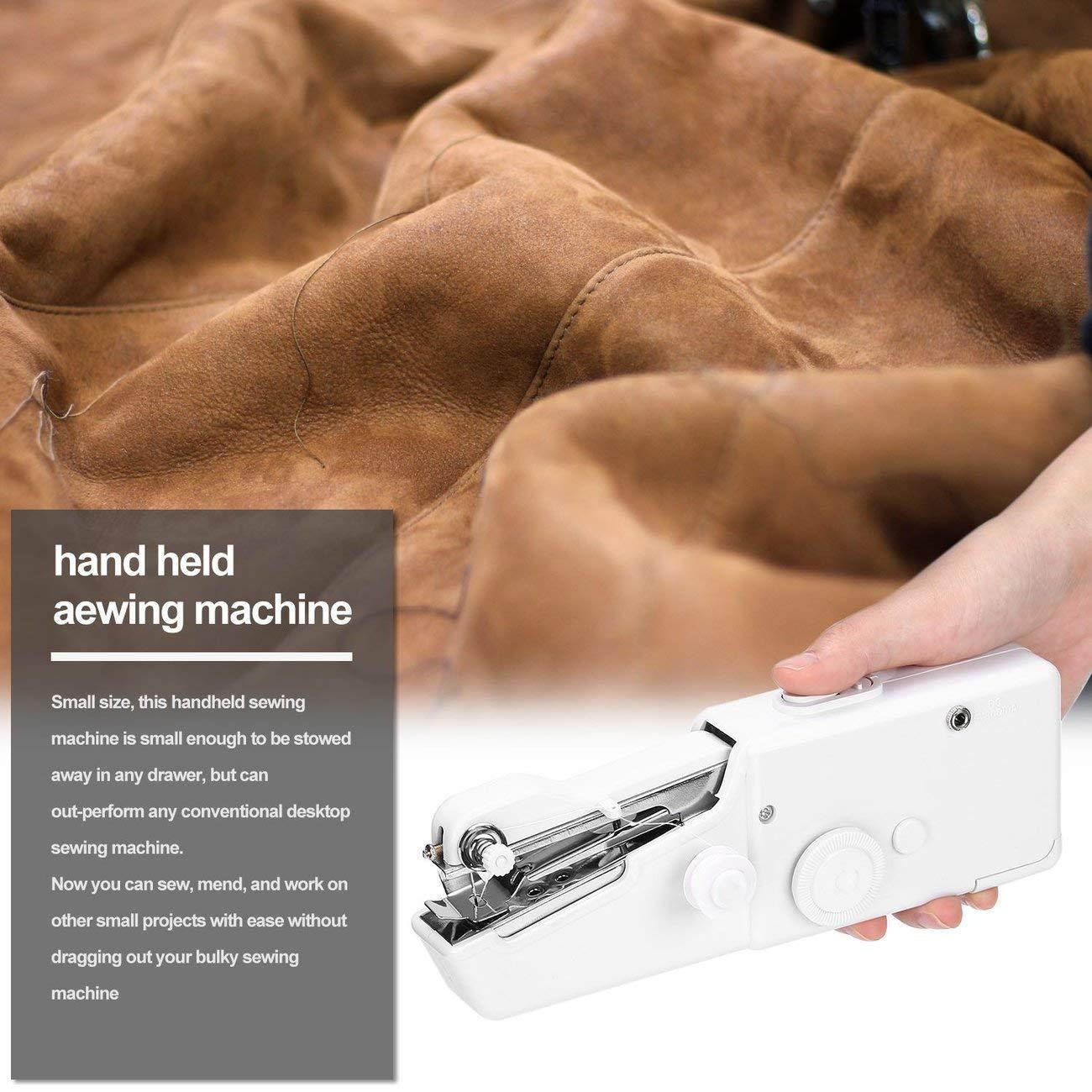 Mini macchina da cucire tenuta in mano elettrica della famiglia portatile a pile