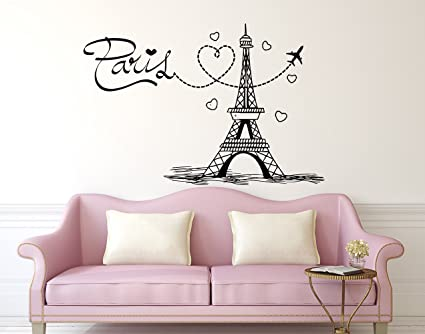 Eiffel Tower Wall Decal Paris Silhouette Vinyl Stickers Decals Art Home  Decor Mural Vinyl Lettering Wall