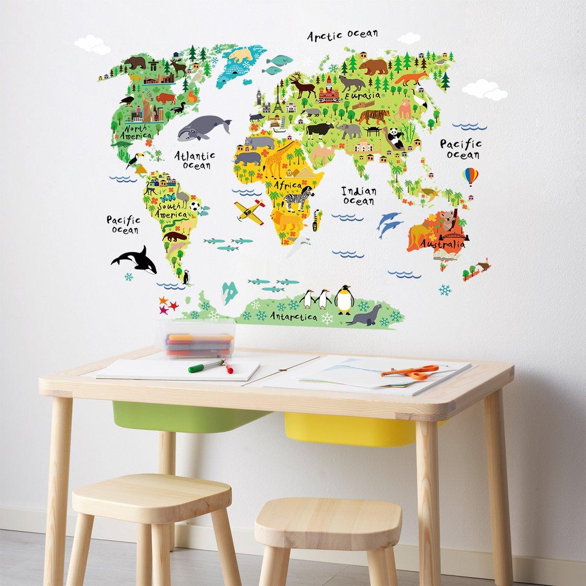 Amazon.com: HomeEvolution Large Kids Educational Animal Landmarks ...