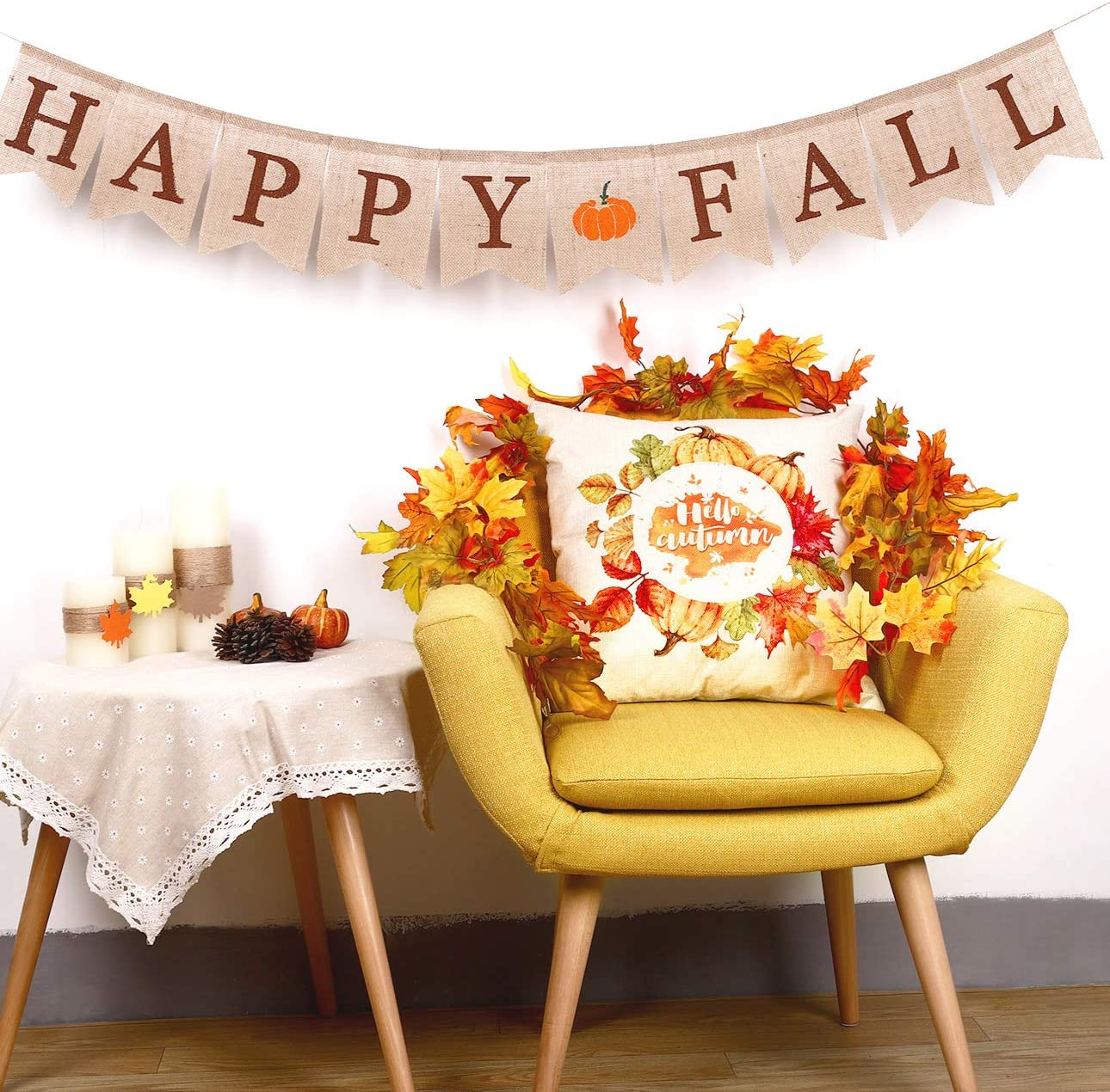 Whaline Hello Autumn Maple Leaf Pillow Cover Linen Sofa Bed Throw Pillow Case Thanksgiving Cushion Cover Home Decorative 18 x 18 inch 2 Pack