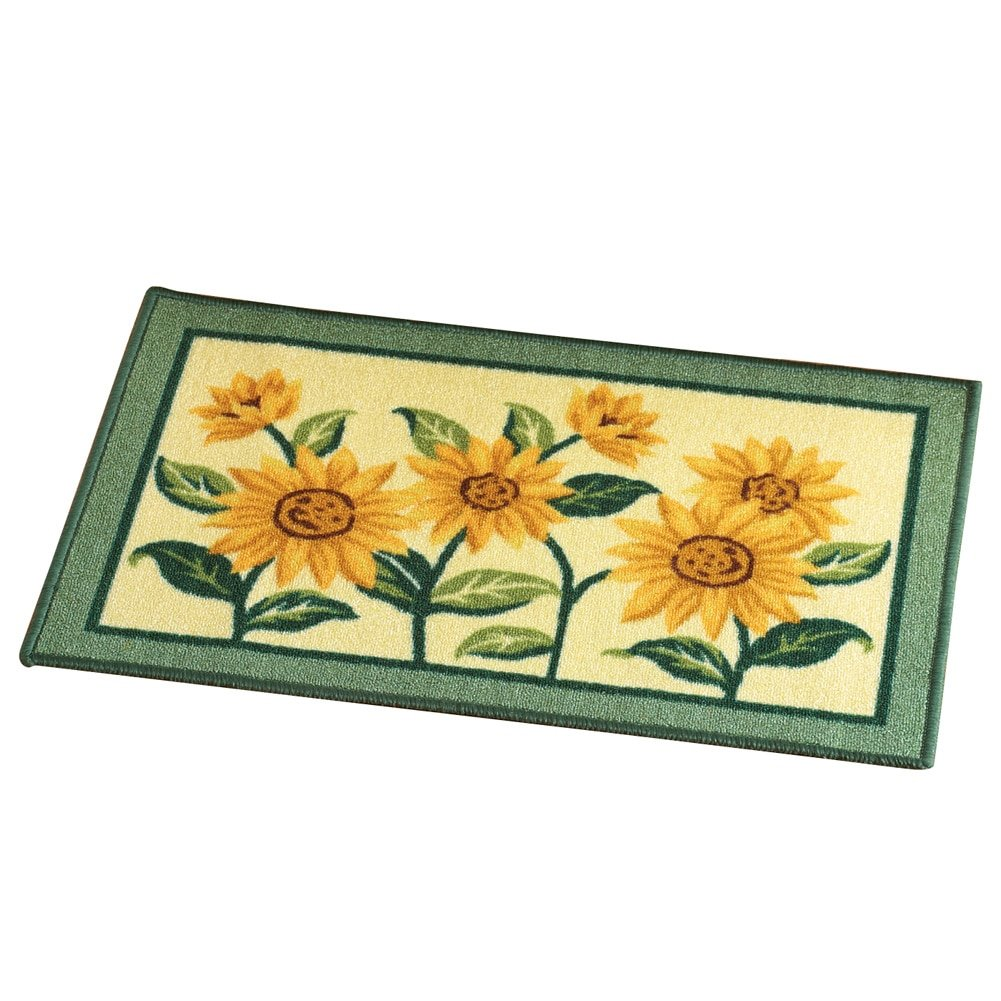 Collections Etc Sunflower Floral Woven Accent Rug