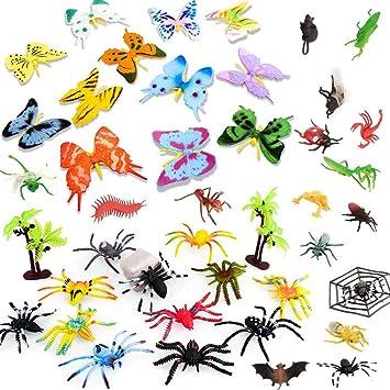 BESTZY 44pcs Insectos plástico para niños Figuras Insectos Juguetes con Pegatina Pared Colorida Mariposa para educación: Amazon.es: Juguetes y juegos