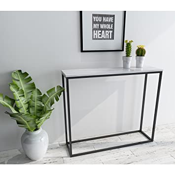 Roomfitters Sofa Console Table Marble Print Top Steel Frame Accent White  Narrow Foyer Hall Table,