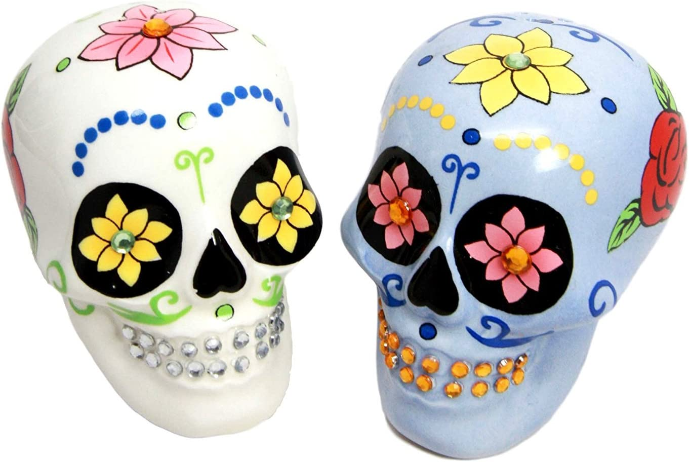 Day of the Dead White and Blue Sugar Skull Design Salt and Pepper Shakers Set Pacific Trading COMINHKPR60716