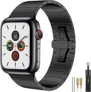 Fitlink Compatible with Apple Watch Bands 42mm 44mm 38mm 40mm, Upgraded Version Stainless Steel Metal Watch Band for Apple Watch Series 6/SE Apple Watch Series 5/4/3/2/1(Black, 42/44mm)