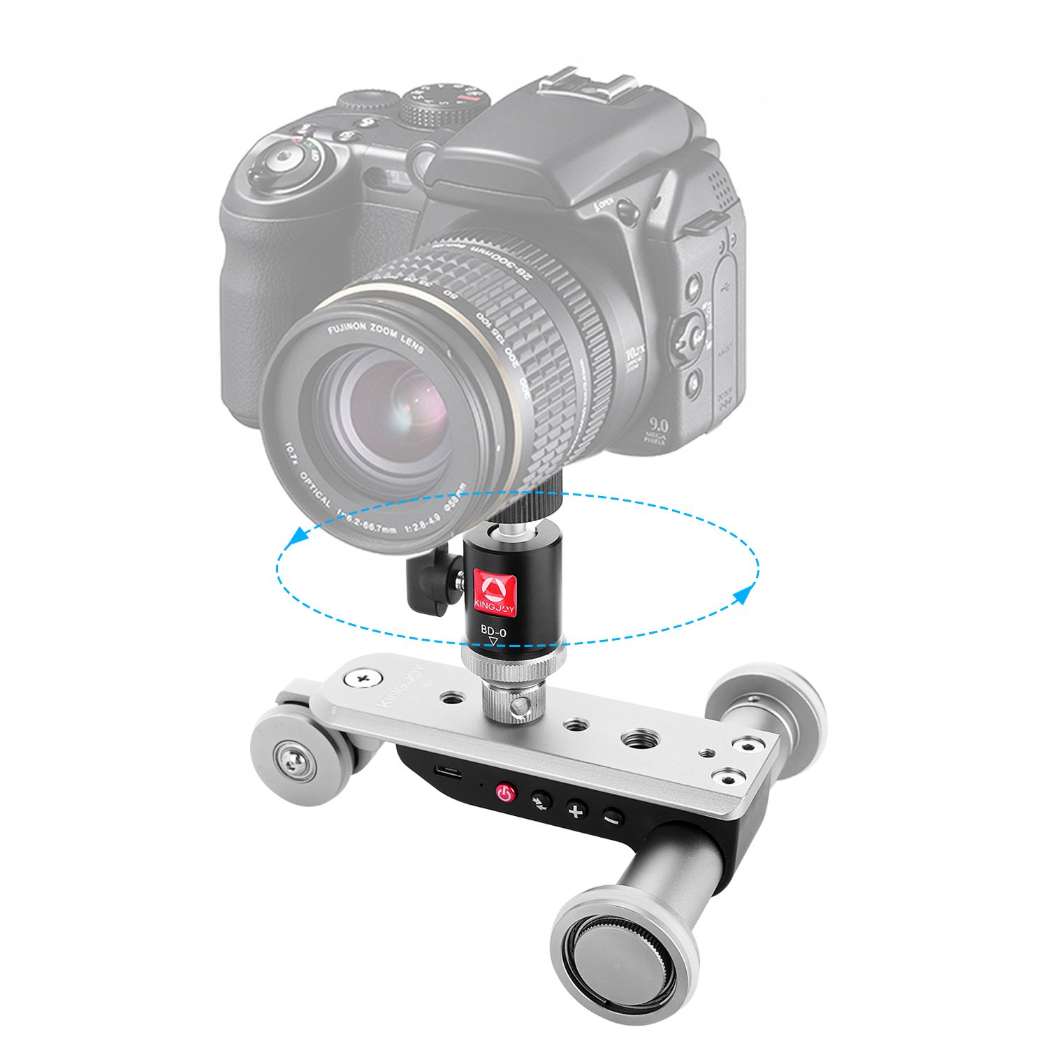 Kamisafe Mini Motorized Slider Track Dolly, PPL-06S Mobile Tabletop Slider Car Skater Pulley Rolling 3-Wheel Video Track Rail with Swivel Ball Head Compatible with DSLR Camera Camcorder iPhone Phones