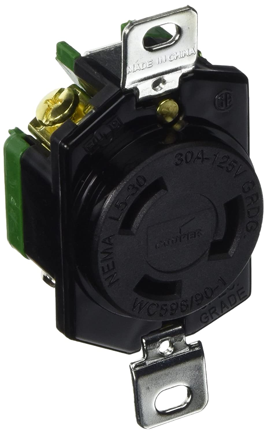 Cooper Wiring Devices L530R 30-Amp 125-Volt Hart-Lock Industrial Grade Receptacle with Safety Grip Black and White 347992