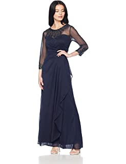 9259ef815f738 Alex Evenings Women's Long A Line Illusion Sweetheart Neck Dress (Petite  and Regular)