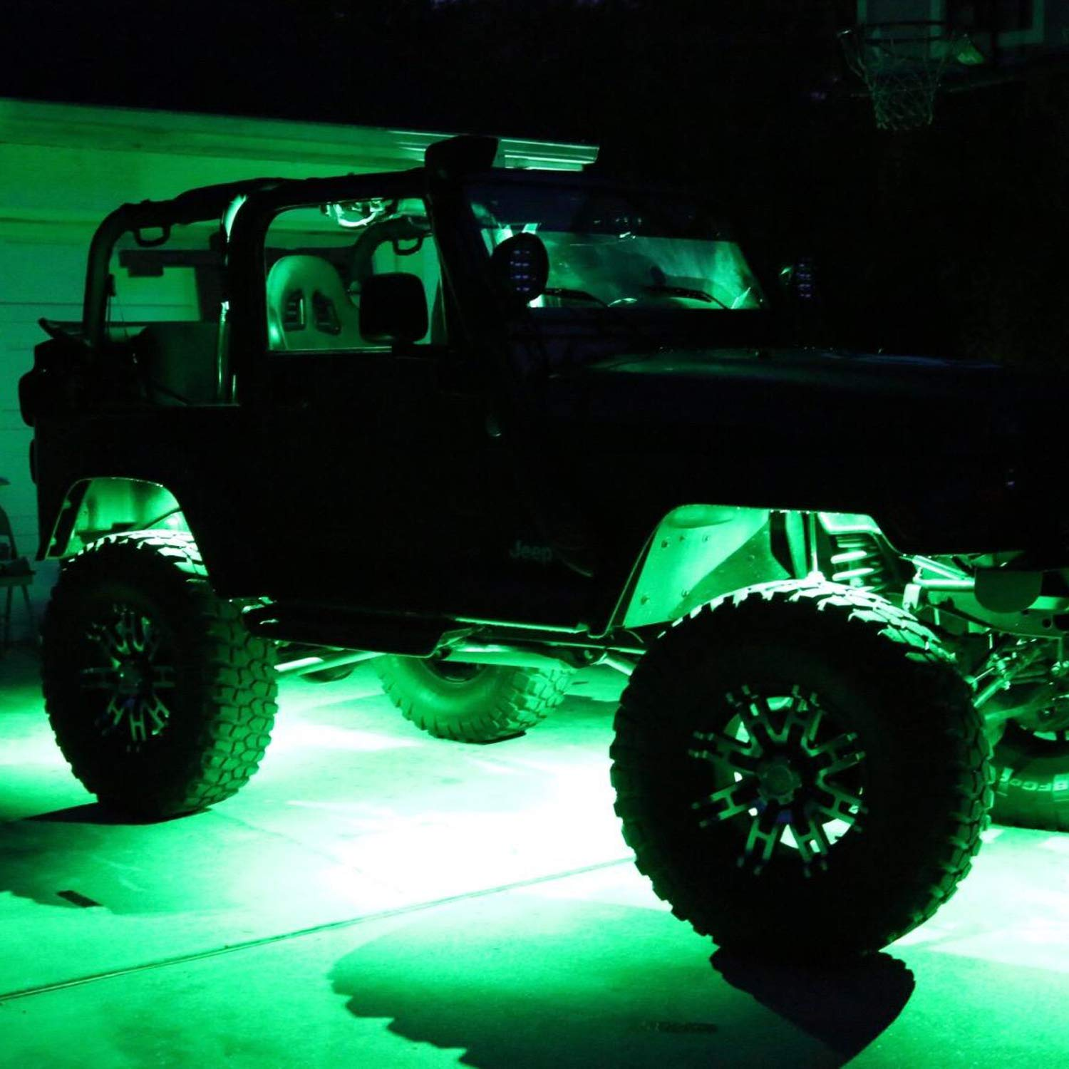 Red Ampper Waterproof LED Neon Underglow Light for Car Truck ATV UTV SUV Jeep Offroad Boat Underbody Glow Trail Rig Lamp 2 Pods LED Rock Lights