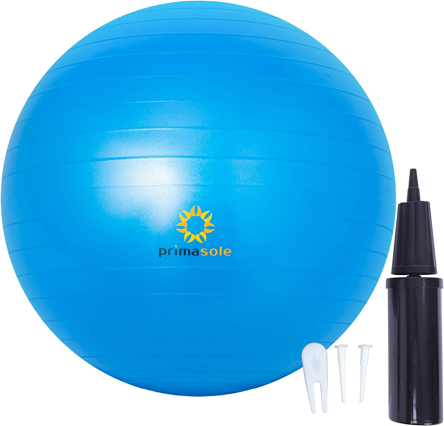 Primasole Exercise Ball (29.5 inch) for Balance, Stability, Fitness, Workout, Yoga, Pilate, Chair Ball at Home, Offce & Gym with Inflator Pump. Balance Ball for Women & Men (Blue) PSS91NH067A