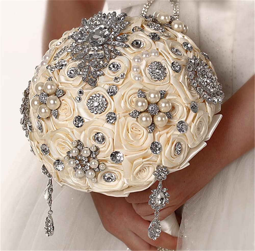 Lujo llamativa Bride holding flowers con Pearl Rhinestone colgante broche marfil boda ramo novia