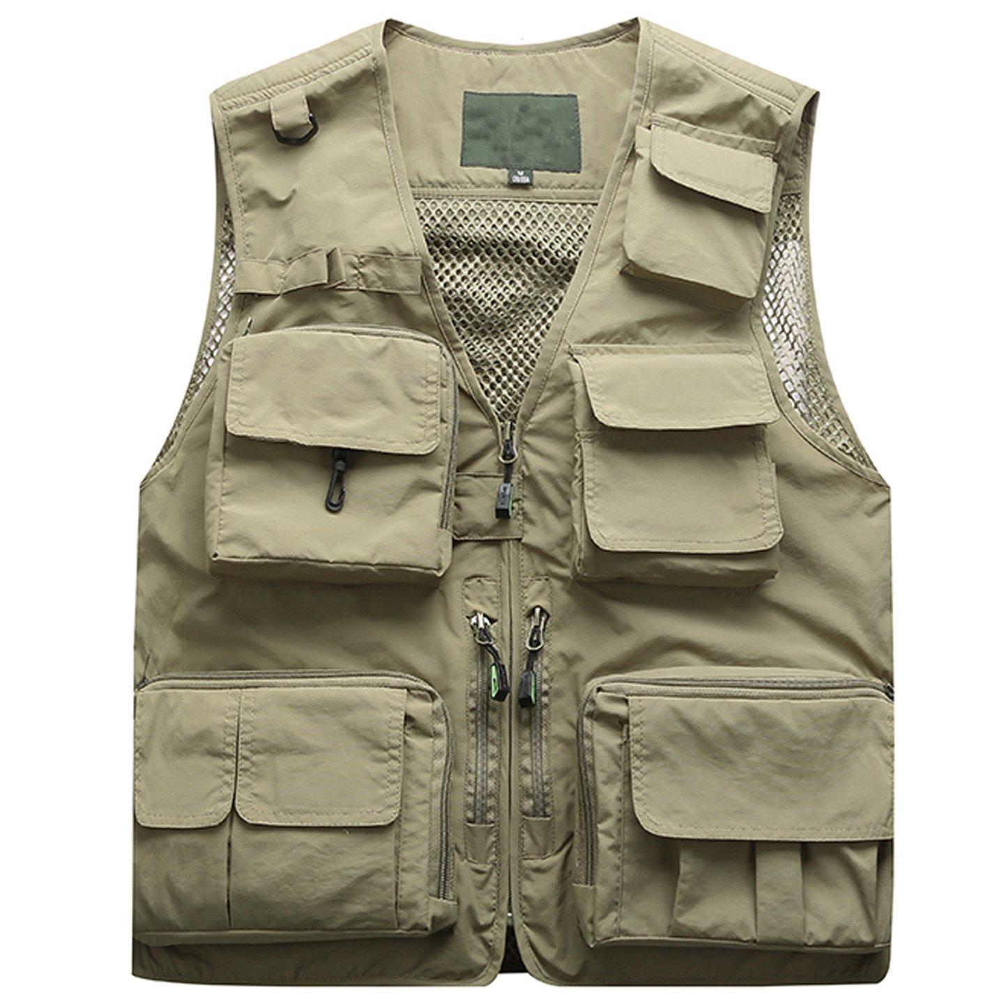 Flygo Men's Multi-Pocket Outdoor Quick Dry Mesh Fishing Safari Photo Vest Waistcoat Jackets