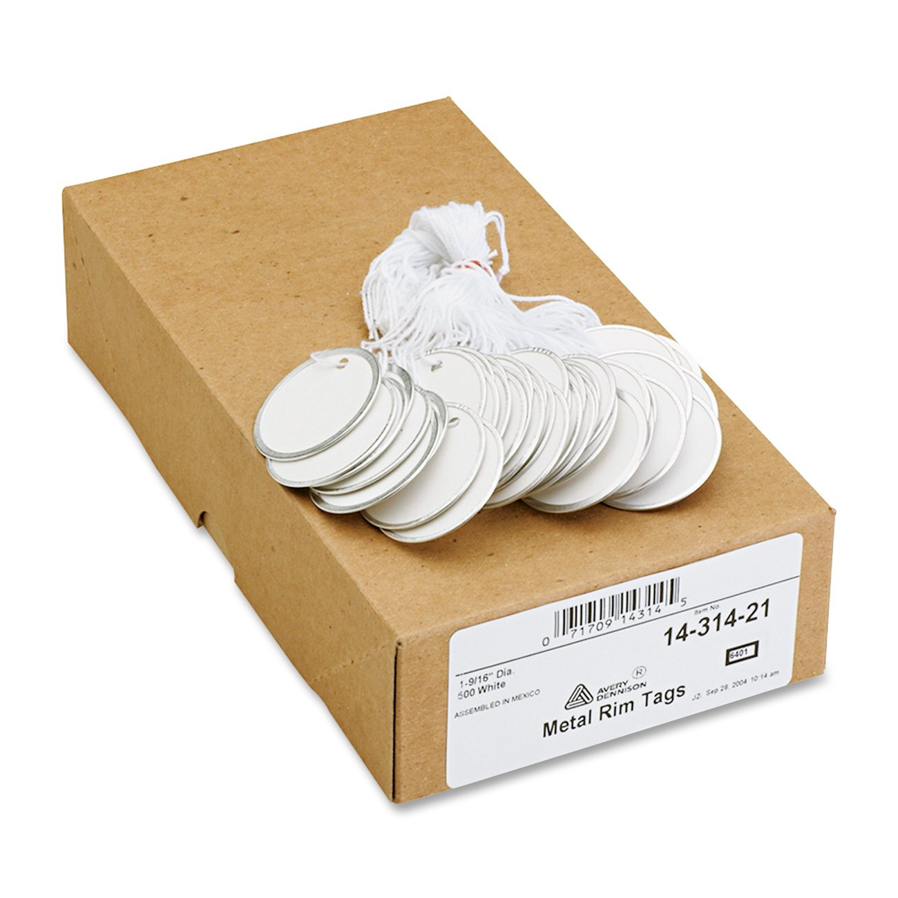 Avery White Metal Rim Tags, Strung, 1.5-Inch Diameter, Pack of 500 (14314)
