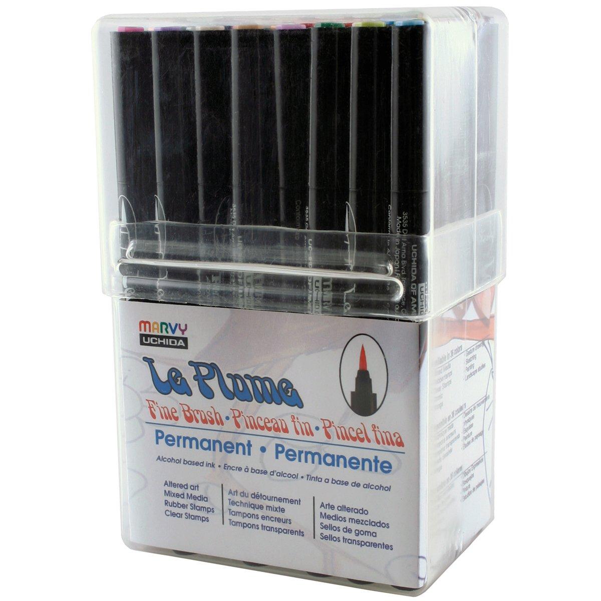 Uchida, 36 Piece, Le Plume Permanent Fine Brush Tip Markers, Alchohol Based Ink