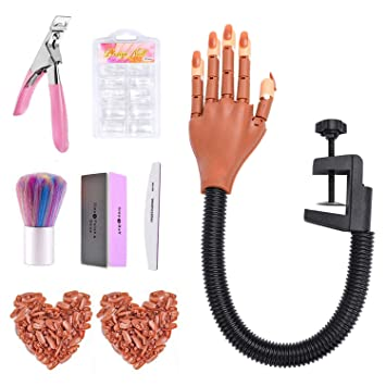 Nail Training Hand for Acrylic Nails,Complete Moveable Practice Hand Kits, Fake Mannequin Model Train Hand with 300 PCS Nail Tips, Nail Files and Clipper for Nail Technician and Beginner