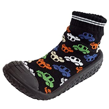 730dbc48b7594 Infant Q Baby Boys Girls Anti-slip Rubber First Walking Sock Shoes (S: 6-12  Months, Cars | Black)