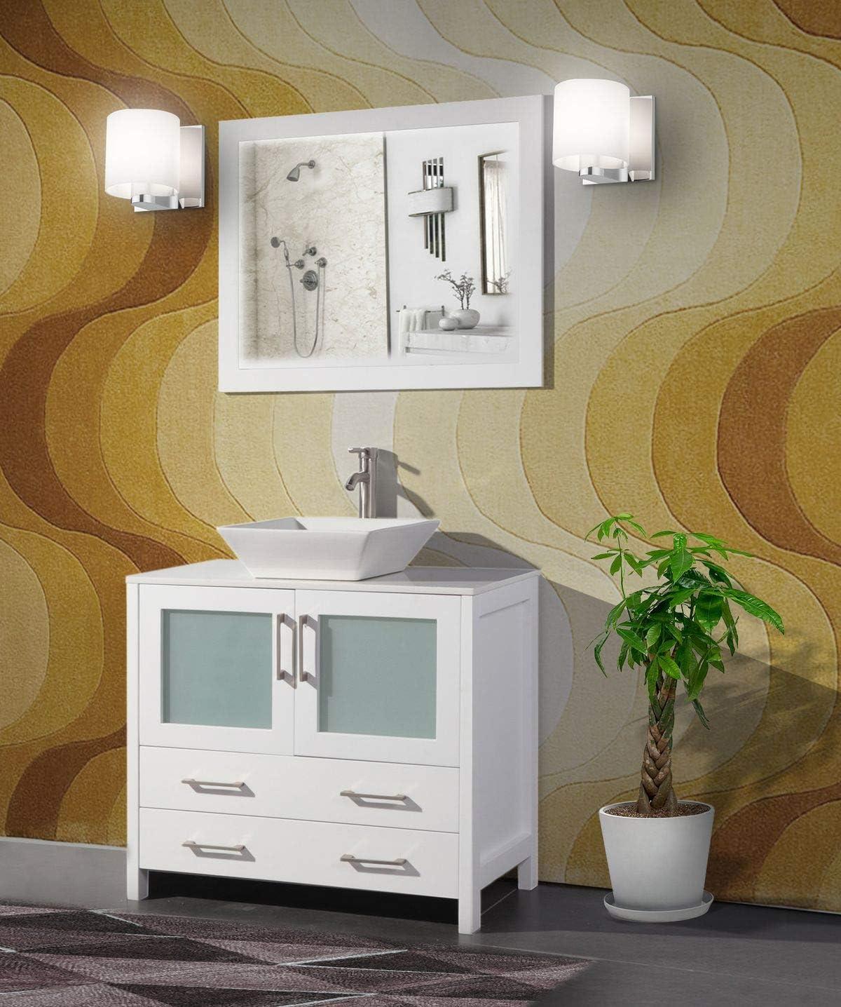 Amazon Com Vanity Art 36 Inch Single Sink Bathroom Vanity Set 1 Shelf 2 Drawers 1 Cabinet Quartz Top And Ceramic Vessel Sink Bathroom Cabinet With Free Mirror Va3136 W Kitchen Dining