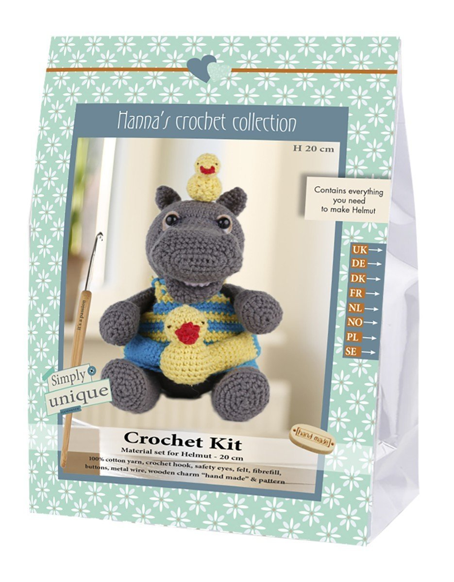 Go hand made 80057 Hippo, Helmut 1 Learn to Crochet, Cotton, Grey/Yellow/Blue, 16 x 7 x 22 cm Go Handmade