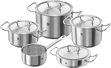 Oferta amazon: Zwilling Twin Classic - Batería de cocina, 5 piezas, Acero inoxidable, Apto para todo tipo de cocinas, incluída inducción