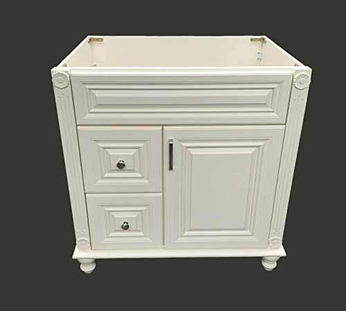 Antique White Solid Wood Single Bathroom Vanity Base Cabinet 30 W x 21 D x 32 H Left Drawers