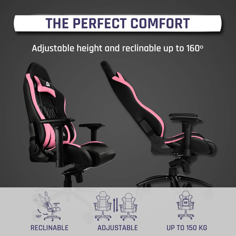 Ergonomisch und Verstellbarer Schreibtischstuhl Kunstleder und Premium-Materialien Rosa Gamer Stuhl 2019 Verstellbar Mit Lenden- und Nackenst/ütze KLIM Esports Gaming Stuhl