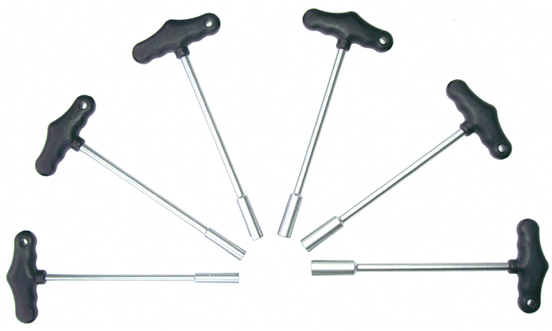 11 mm 6-tlg 10 mm 13 mm Sechskant-Schraubendreher f/ür Au/ßensechskant Schrauben SW 8 mm Chrom-Vanadium-Stahl Steckschraubendreher mit Quergriff T-Griff 9 mm 12 mm