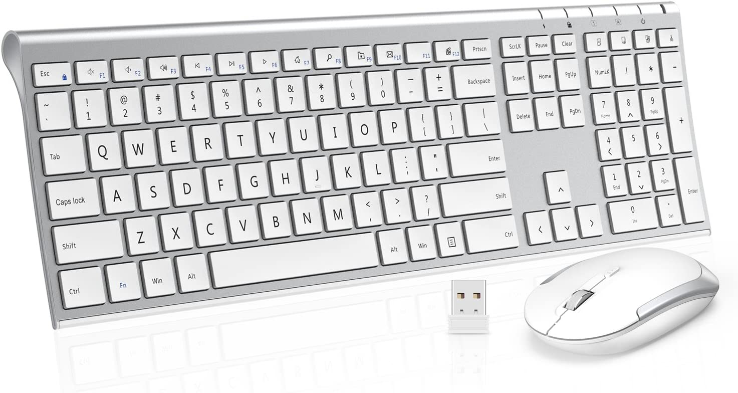 Wireless Keyboard Mouse, Jelly Comb 2.4GHz Ultra Slim Full Size Rechargeable Wireless Keyboard and Mouse Combo for Windows, Laptop, Notebook, PC, Desktop, Computer (White and Silver)