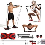 Portable Home Gym with Heavy Resistance Bands Ab Roller Wheel Pulleys and More Full-Body Workout Equipment for Home Gym Equip