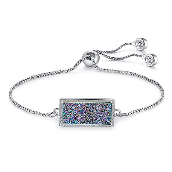 Elaina Adjustable Chain Bracelet In Rainbow Drusy with Blue Gift Box for Mother's Day, Graduation, Birthday