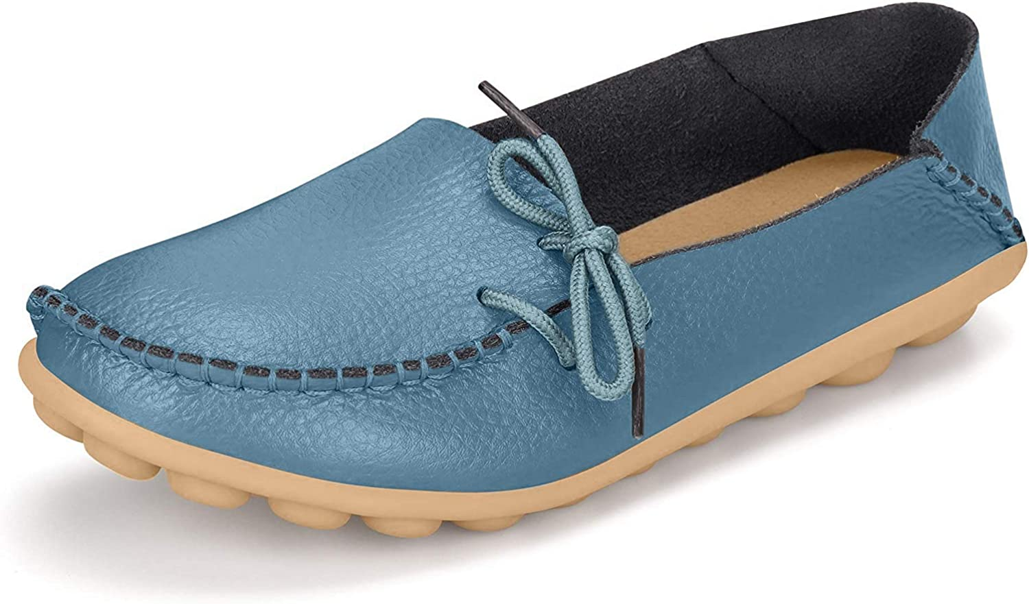 Fay Waters Womens Leather Loafers Ballet Shoes Casual Moccasins Driving Flats Slip-on Shoes