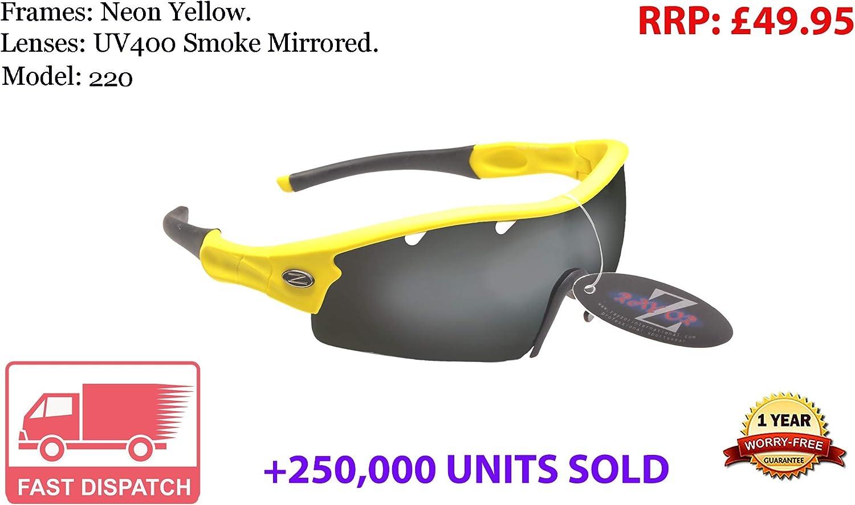 220 RayZor Uv400 GunMetal Grey Sports Wrap Sunglasses Blue Mirrored Lens RRP£49