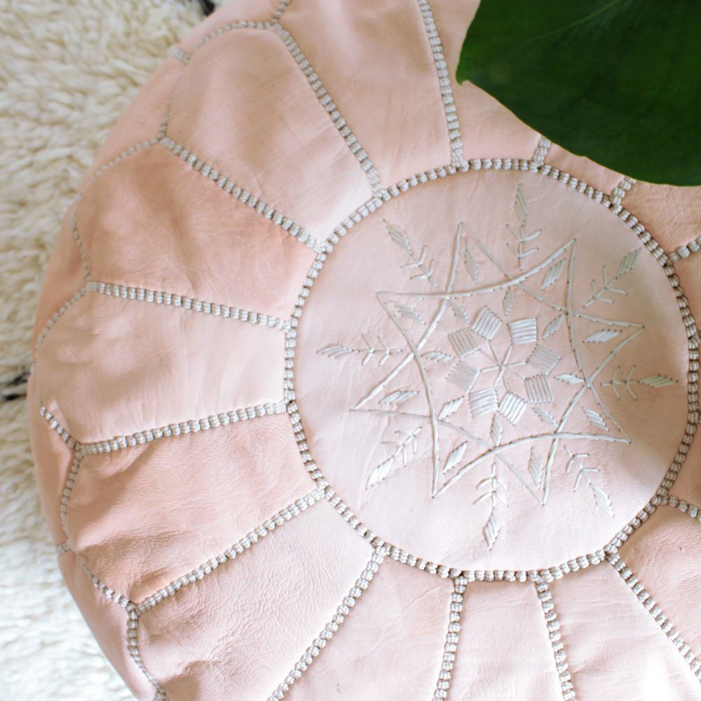 Beautiful Handmade Moroccan poufs Real Natural Leather Ottomans poof Footstool Pouf from Morocco | Colors Ivory White 100% handmade | Delivered unstuffed.