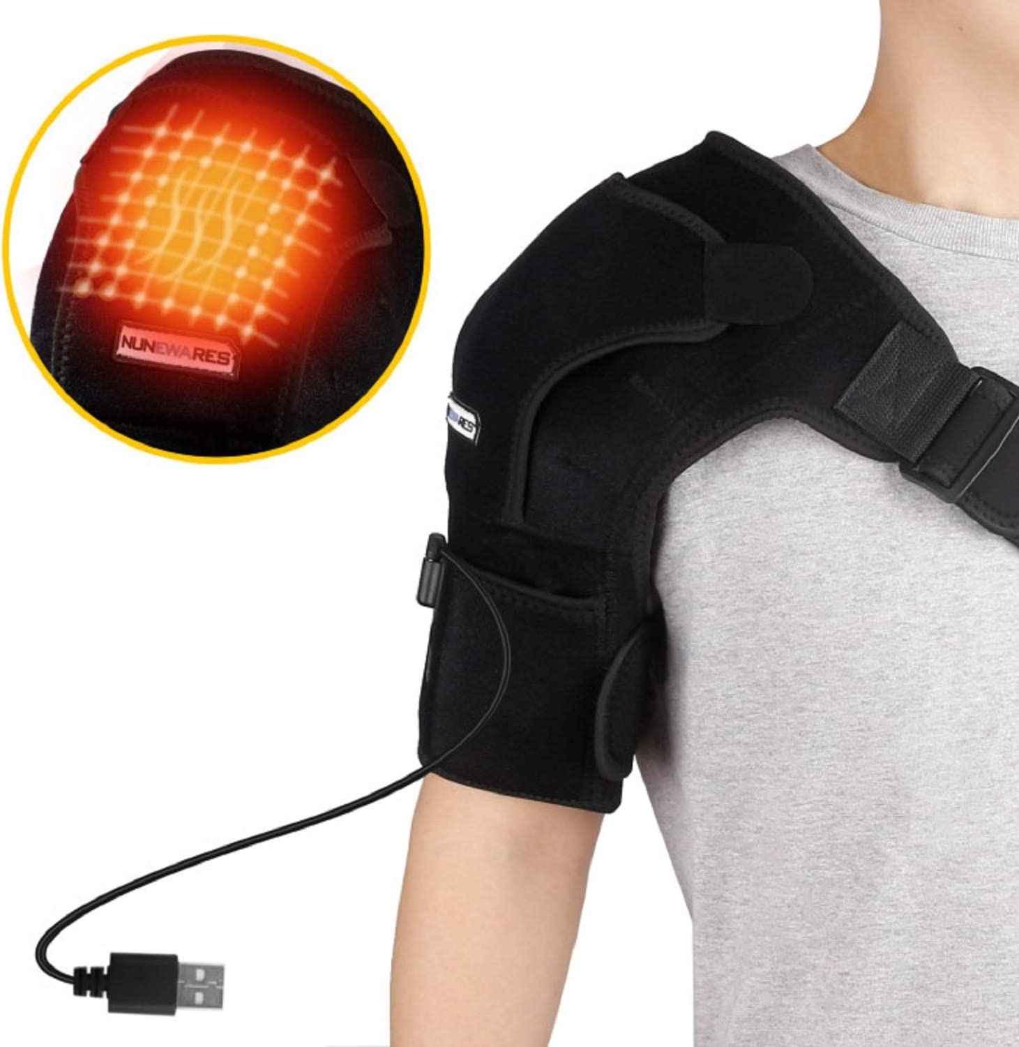 Heated Shoulder Brace Wrap, 3 Heat Settings Heating Pad with Hot and Cold Therapy for Frozen Shoulder, Pain Relief,Bursitis, Strain, Stiff, Soreness (No Battery Included).
