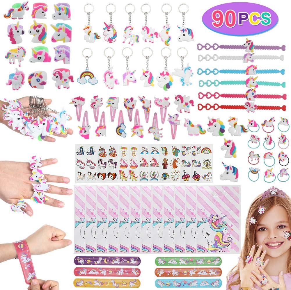 Anpro 90 PCS Kit de Unicornio para Niños,Regalos Piñatas de Cumpleaños,Juguetes de Fiesta,Regalo Original para Niñas