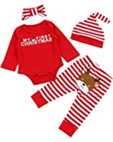 Von kilizo Christmas 4Pcs Outfit Set Baby Girls Boys My First Christmas Rompers