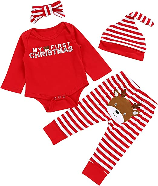 Newborn Baby My First Christmas Pjs Girls Boys Long Sleeve Red Romper 0-18 Months